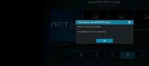 PVR Client - NextPVR will not load - unknown error - PVR